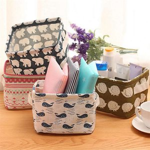 Wholesale Cotton Linen Storage Box Office Desk Organizer Sundries Cosmetic Storage Basket Jewelry Stationery Container Holder Home Decor