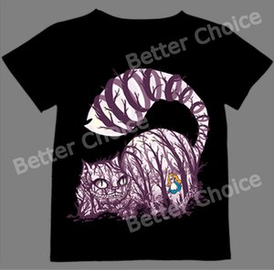 Wholesale Track Ship T shirt Top Tee Big Purple Tooth Ghost Cheshire Cat Alice Alice s Adventure in Wonderland Forest
