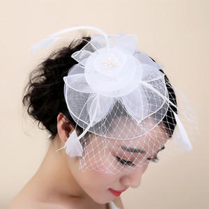 Wholesale Vintage Hat Pure White Feather Organza Headpiece Head Veil Wedding Bridal Accessories Party Women Hats Black Bride Hat