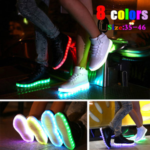 Wholesale Led Shoes Man women sneakers USB Light Up Unisex sports shoes Lovers For Adults Boys Casual Students Sports Glowing With Fashion High Top