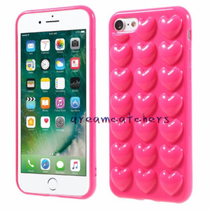 Wholesale 3D Heart Case For iphone X Plus with Lanyard Soft Lover Silicone Jelly Phone Cover for s Plus Skin Shell with Hang Rope Colorful