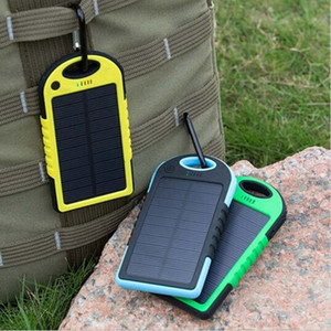 hot sale Solar Charger 5000Mah Dual-USB Drop resistance portable Solar Power Bank 5000mah ravel External Battery For smartphone