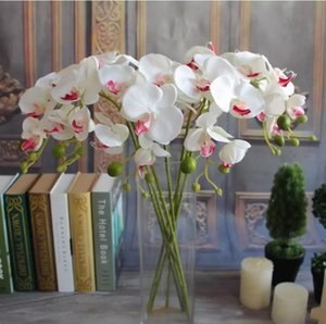 Wholesale orchid potting resale online - Beautiful cm Length Artificial Silk Phalaenopsis Butterfly Orchid Leaf Pot Flower Arrangement For Wedding Birthday Decoration