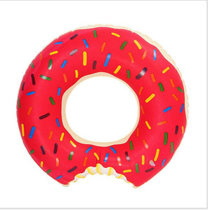 Wholesale 60cm baby Summer Water Toys Donut Swimming Floats Buoy Inflatable Swimming Ring children Pool Floats Strawberry Donut swim ring