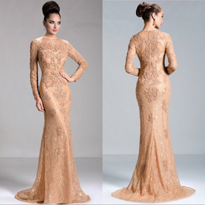 Wholesale Champagne Lace Long Sleeve Mermaid Evening Dresses Beaded Appliques Formal Evening Gowns Sleeves Cheap Prom Party Dress