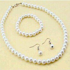 Wholesale new fashion hot sale man made cheap mm Pearl Necklace Bracelet Earring piece bride Jewelry Set