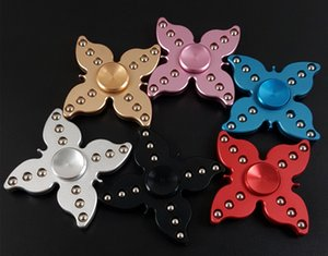 Wholesale Creative Butterfly Metal Aluminum Flower Fidget Spinner Hand Gyro Fingertips Tri Spinner Toys with Retail Package DHL Free