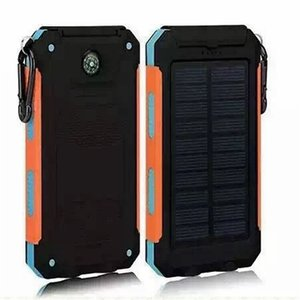 Wholesale Waterproof solar charger mah universal power bank with LED flashlight and compass for Mobile Phones outdoor camping