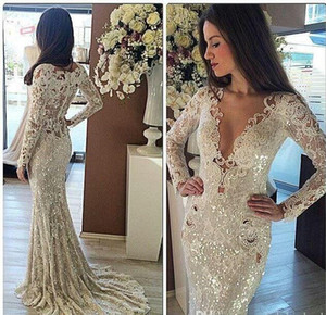 Wholesale indian wedding dresses sleeves resale online - 2021 Elegant Mermaid Cheap Lace Garden Sheer Back Wedding Dresses Long Sleeve Indian Gowns Affordable Ivory Bridal Dresses