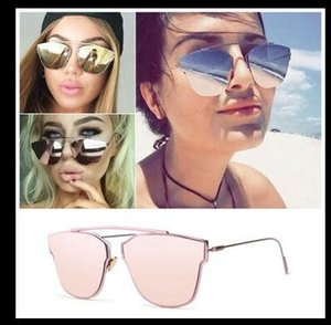 Wholesale New Cat Eye Sunglasses Women Vintage Fashion Rose Gold Mirror Sun Glasses Unique Flat Ladies Sunglasses Oculos
