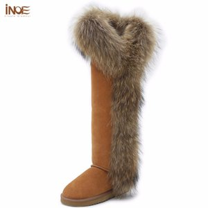 Wholesale INOE Fashion Style big girls fox fur tall thigh winter snow boots for women winter shoes real leather lady long boots for party
