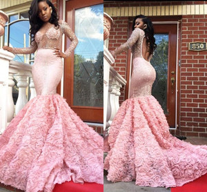 Wholesale 2017 New Arrival Luxury Pink Mermaid Prom Dresses Sheer Neck Long Sleeve Sequins Beads Sexy Backless Evening Party Gowns Custom Made