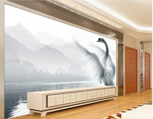 Wholesale romantic wallpaper new resale online - New Custom D Beautiful Romantic beautiful swan lake TV wall decoration painting wallpaper for walls d for living room