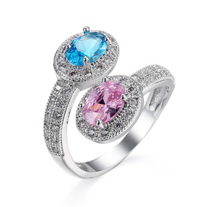 Wholesale pink rings for sale - Group buy Pink Blue Zircon White Gold Filled Lover Engagement Wedding Finger Ring Sz6