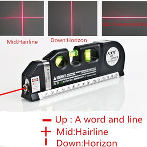 Wholesale 2017 HOT Multipurpose Laser Levels Horizon Vertical Measure Tape Aligner Bubbles Ruler multifunction laser level leveler tool Laser LV03