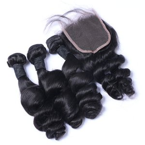 Wholesale Brazilian Peruvian Malaysian Loose Wave Hair With Closure 3 Bundles With Closure Brazilian Wet And Wavy Hair With Closure Wavy Human Hair