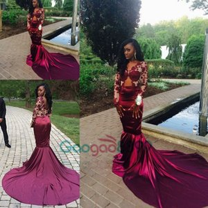 sweep train Prom Dresses African Mermaid Burgundy Sexy Long Sleeves Lace Appliques 2019 Evening Custom Made Dress on Sale