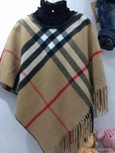 Wholesale Hot sell Girls plaid poncho Fall Fashion girls red Plaid tassel Shawl Tops Quality Childrens Cape girls poncho outwear A5249