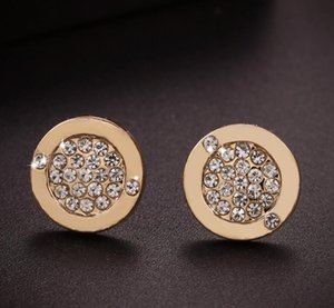 Europe Style Fashion Circular Earrings Rhinestone Crystal High Quality Ear Stud for Women Jewelry