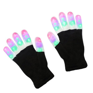 Wholesale 2017 LED Flash Gloves Five Fingers Light Ghost Dance Black Bar Stage Performance colorful Rave Light Finger Lighting Gloves Glow Flashing