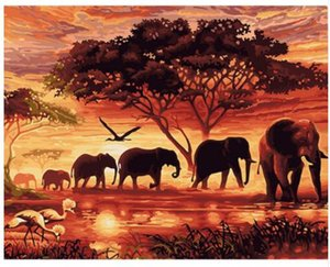Wholesale Elephants Landscape DIY Digital Painting By Numbers Modern Wall Art Canvas Painting Unique Gift For Home Decor x50cm