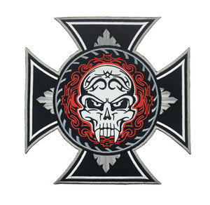 Wholesale New Arival HUGE CROSS SAVAGE SKULL TATTOO BIKER JACKET EMBROIDERED PATCH IRON ON RIDER VEST Badge DIY Accessory Embroidery