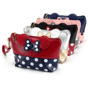 Wholesale Waterproof PU Leather Female Cute Dots Bow Tie Multi function Cosmetic Bag Makeup Bag Travel Storage Organizer