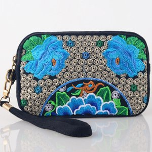 Wholesale Vintage embroidery Chinese Features ethnic floral embroidered Coin Clutch bag zipper purse long wallet phone bag
