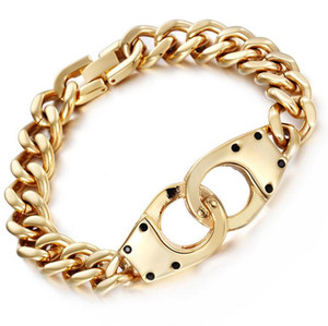 Wholesale 22CM mm Men s Gold Color Infinity Link Chain Bracelets Silver Color Stainless Steel Handcuff Male Chain Bracelets Bangle