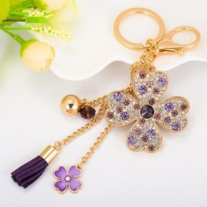 Wholesale High Quality Fashion Crystal Four Leaf Clover Keychain Car Key Chains Key Ring For Women Car Handbag Accessories