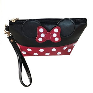 Wholesale Women PU Leather Butterfly Bow Makeup Bag Wristlet Cosmetics Bags Fashion Small Travel Pouch Top Quality P406