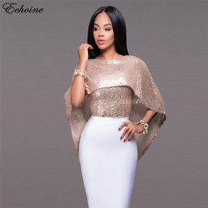 Wholesale Summer Style Women s Sexy O neck Shirt Shiny Sequin Shirt Batwing Sleeve Shawl Cloak Women Sequined Tops Tees Black Rose Bling