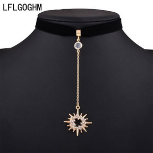 LFLGOGHM Sun Rhinestone Collar Choker Necklace Pendant Sexy Party Vintage Resin Velvet Gun Black Crystal Necklaces Women Jewelry wholesale