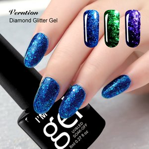 esmalte de uñas al por mayor-Venta al por mayor VERNATION Lucky Color Need UV Lámpara Top y Base Coat Barnish Art Hook Off Professional D Diamond Glitter Nail Gel Polish