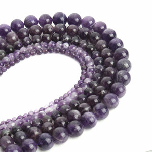 Wholesale bracelet amethyst round beads resale online - 4 mm Amethyst Bead Natural Stone Beads Round Purple Stone Loose Beads For Jewelry Making Strand quot Diy Bracelet Necklace
