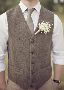 2019 Brand Brown Wool Herringbone Tweed Vests Custom Made Mens Suit Vest Slim Groom Vests Vintage Wedding Vest Plus Size British Waistcoat