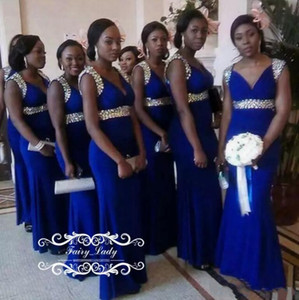 African Royal Blue Mermaid Bridesmaid Dresses 2017 Sparkly Crystal Beaded Long V Neck Plus Size Maid of Honor Wedding Party Gowns on Sale