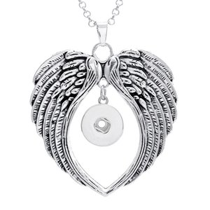 Wholesale Angel Wing Snap Pendant Jewelry fit MM Snap Buttons with cm stainless steel chain necklace Jewelry Making