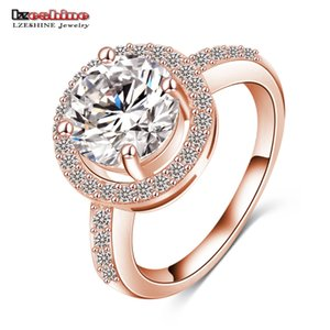 Wholesale LZESHINE Luxury Quality Hearts Arrows Micro Inlay Cut Cubic Zirconia Wedding Engagement Rings For Women CRI0001