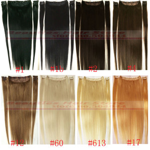"Wholesale ZZHAIR 16""-32"" 100% Brazilian Remy Human hair Clips in on Human Hair Extension 5pcs set 100g 120g 140g 160g 180g 200g"