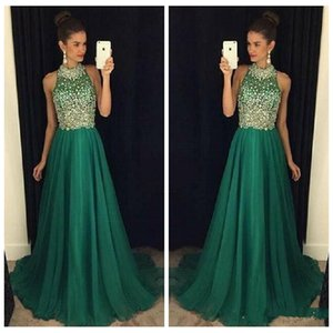 Wholesale Bling Bling Green Prom Dresses Long 2018 High Neck Crystal Beaded Formal Women Evening Gowns A-Line Party Dress