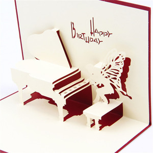 Wholesale Red Blue Handmade D Pop UP Card Kirigami Origami Foldable Birthday Greeting Cards with Piano Angel