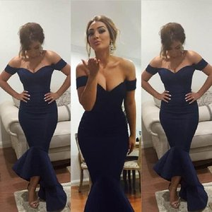 Wholesale Navy Blue Evening Dresses Mermaid Off Shoulder Celebrity Dresses Arabic dress Bridal Gowns Party Prom Tea length 2016 guest dress