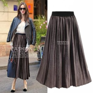 Wholesale Fashion Gold Velvet pleats Skirts Elastic Waist Coffee Black Long Autumn Winter Dresses Pleated Skirts Size Free