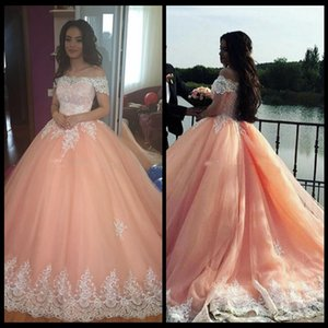 Wholesale 2018 Blush Pink Ball Gown Quinceanera Dresses Bateau Neck Short Sleeves Appliques Tulle Plus Size Sweet 16 Dresses Saudi Arabic Prom Dresses