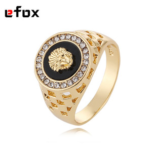 Wholesale- Best Selling High Quality Cubic Zirconia Hip Hop  Man Ring Gold Color 18 KRGP