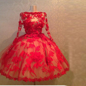 Vintage 1950's Style Red Lace Ball Gown Short Evening Dresses Long Sleeves Sheer Sexy Short Prom Dresses Women Formal Gowns With Appliques on Sale