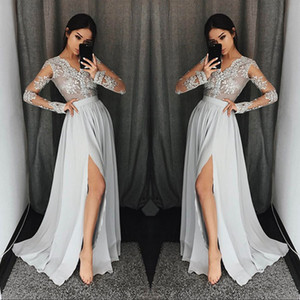 Silver Grey Long Sleeve Prom Dresses Long V Neck Appliques Lace Formal Party Gowns With High Split Modest Evening Dress on Sale