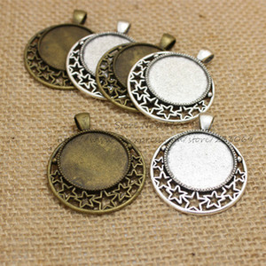 (12 pieces lot) two color Alloy star 36*45mm(Fit 25mm dia) Round Cabochon Pendant Settings Jewelry Findings T0225