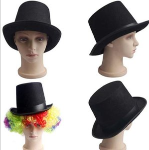 Wholesale Black Satin Felt top hat magician gentleman adult S costume tuxedo victorian cap Halloween Christmas party Fancy Dress Top Hats gifts